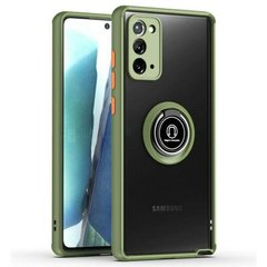 TPU+PC чехол Deen ColorEdgingRing for Magnet для Samsung Galaxy Note 20 Оливковый